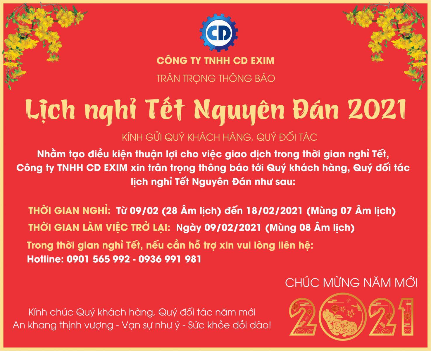 Lịch nghỉ Tết Nguyên Đán  2021 CTY TNHH CD EXIM